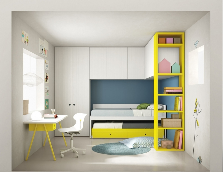 Unique Bedroom With Yellow Shelves
