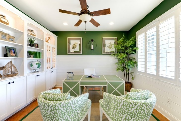 home office with green furniture