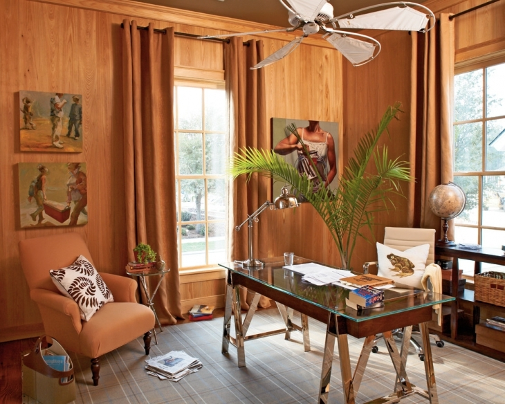 home office with wooden furniture1