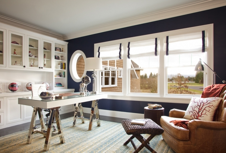 Blue And White Home Office Design