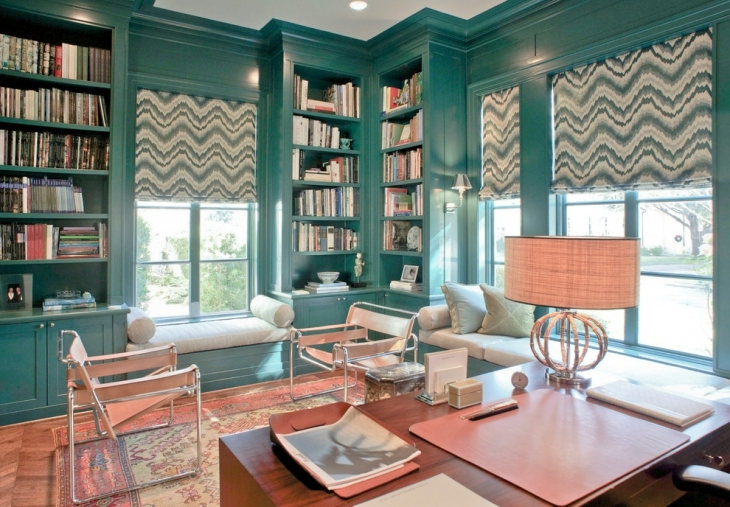 teal color home office interior
