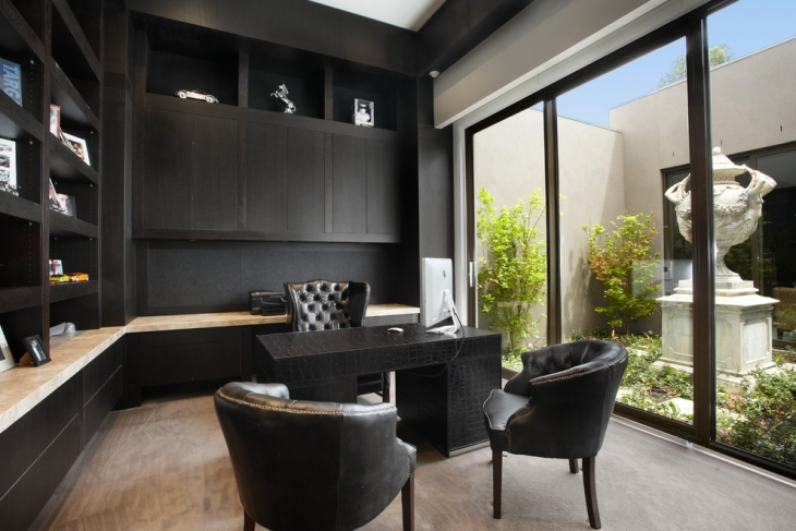 luxury home office with black chairs
