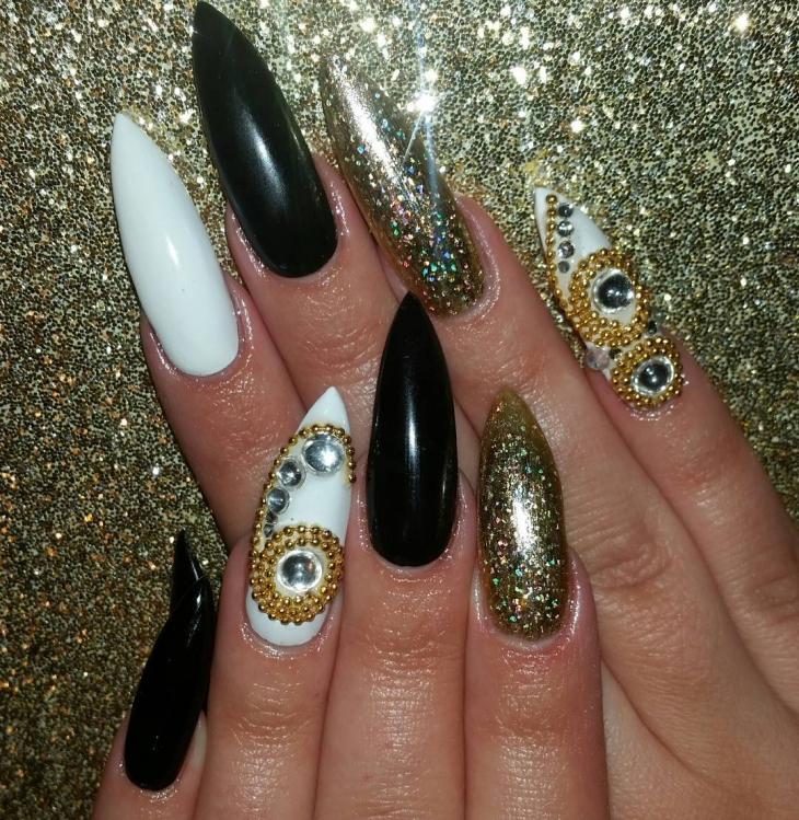 Black Fancy Nail Design