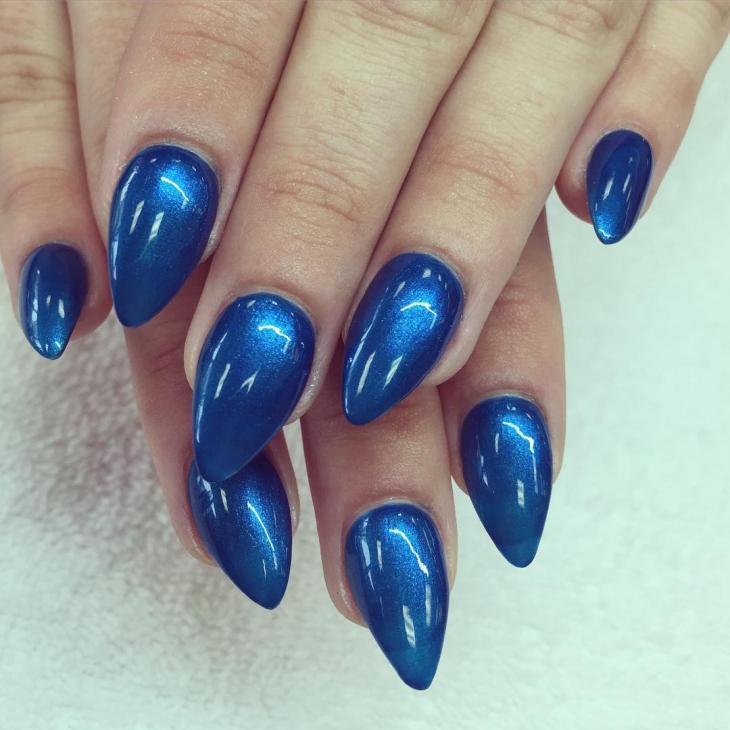 glitter blue nail art
