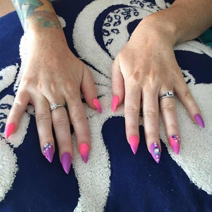 Violet and Pink Nails