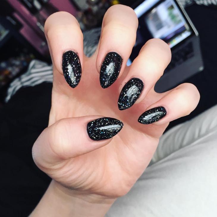 glitter black nail art design