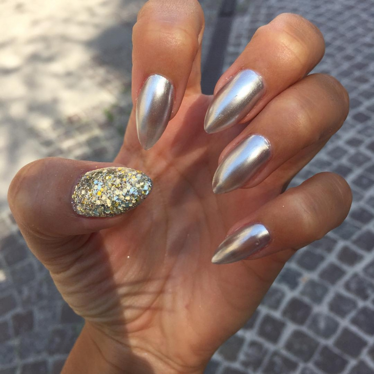 dazzling silver nail art idea