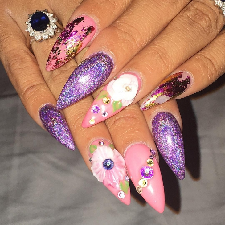 flower design for long nails