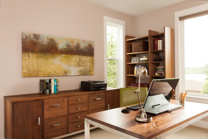 Contemporary Office With Walnut Desk