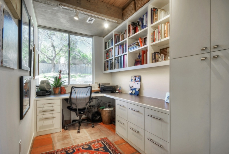 Home Office With Gray Cupboard