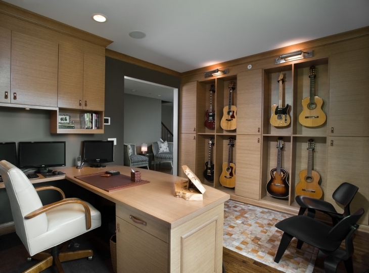 Home Music Office With Cupboards