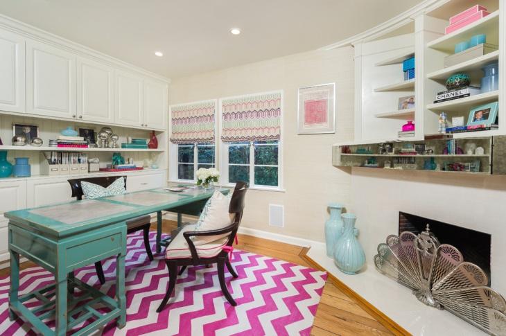 blue desk design for home workspace