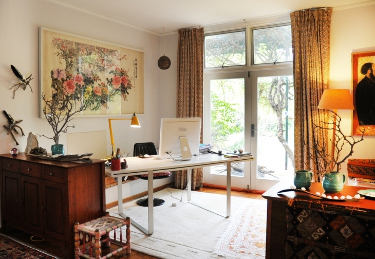 eclectic home office interior