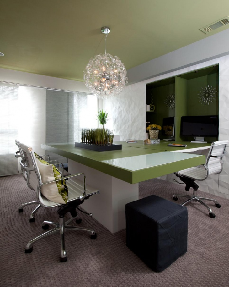 green workspace interior design idea
