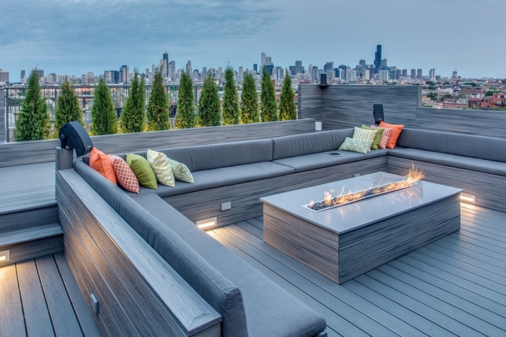 gray rooftop conversation pit idea