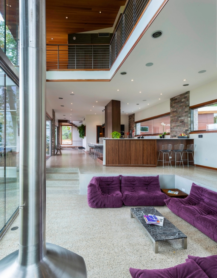 conversation pit with purple sofa