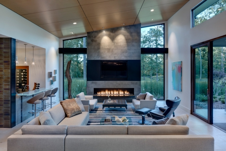 stylish gray conversation pit home