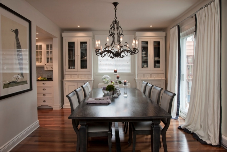 Elegant Formal Dining Room With Chandelier