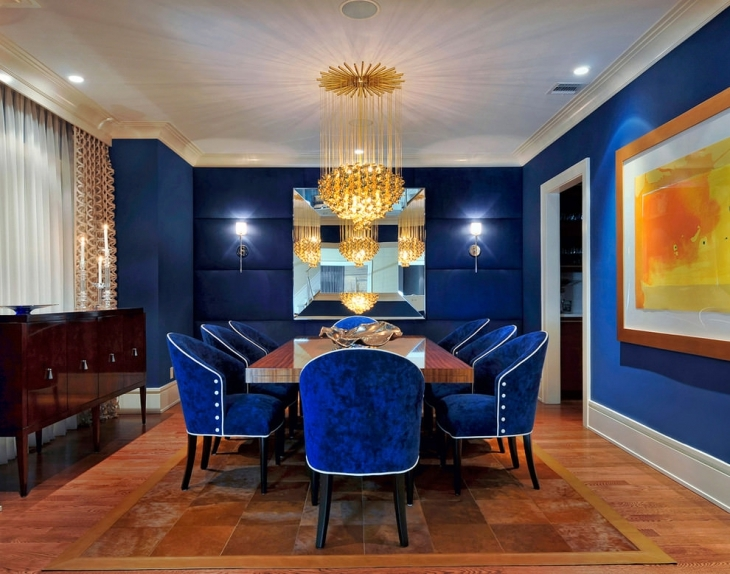 Blue Dining Room With Lighting