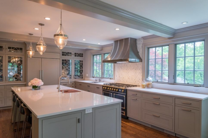 classic kitchen with pendant lighting