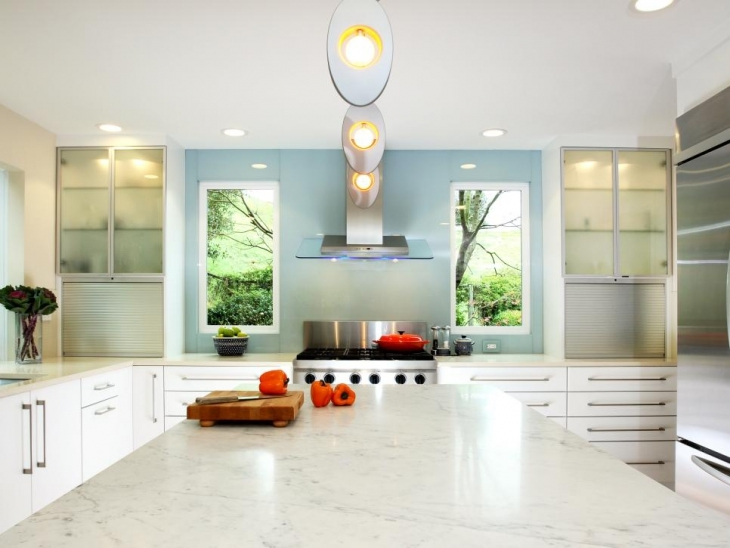 contemporary kitchen with modern lighting