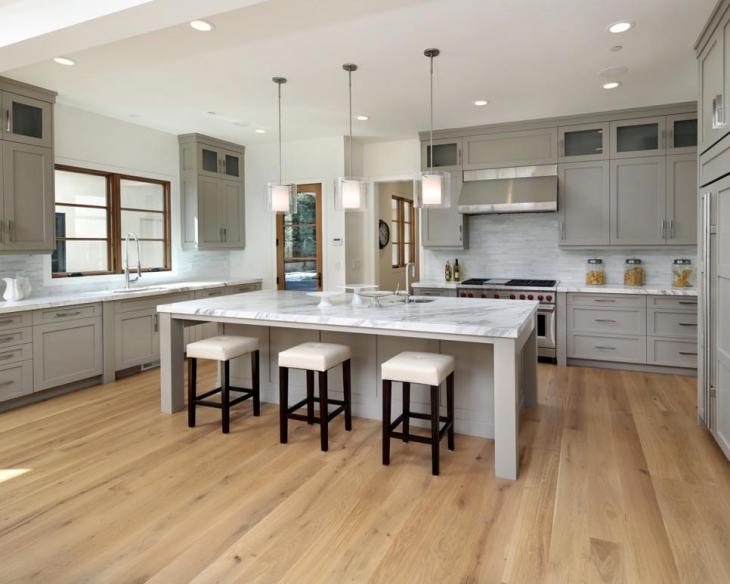 marble island kitchen lighting idea