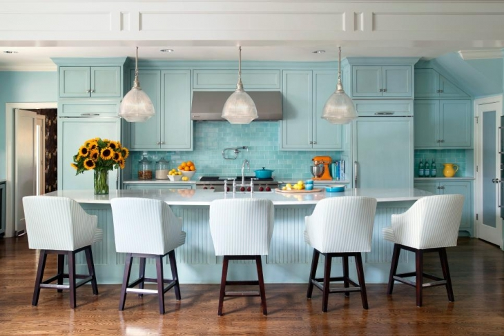 Sky Blue Kitchen With Trio Lights