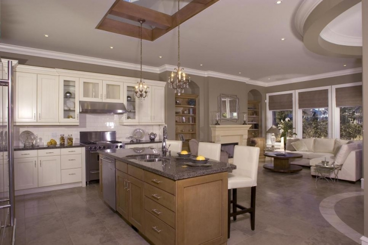 neutral kitchen with chandeliers