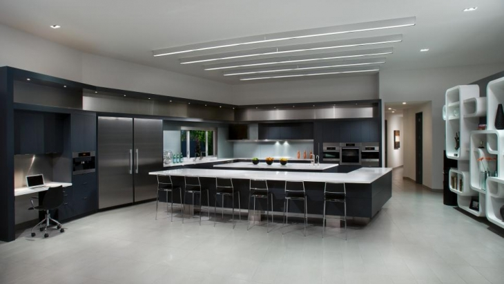 modern kitchen with luxurious lighting