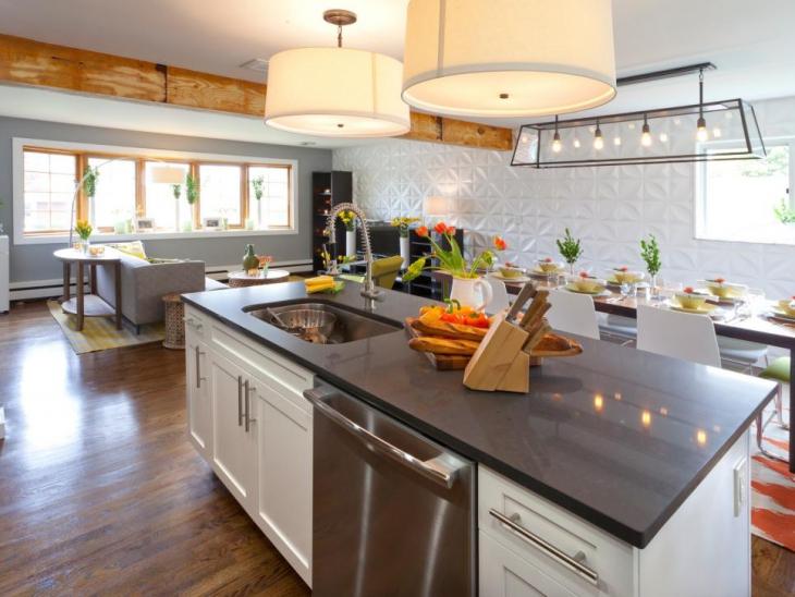 renovated large kitchen lighting