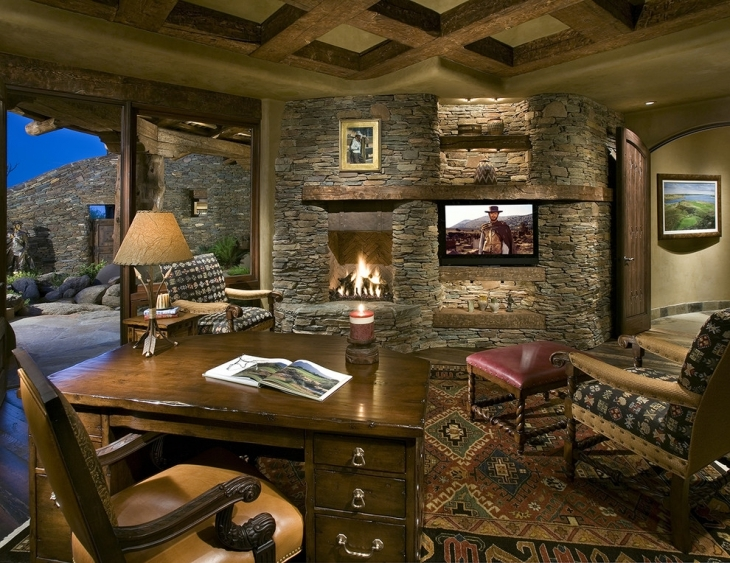 Home Office Wall With Fireplace