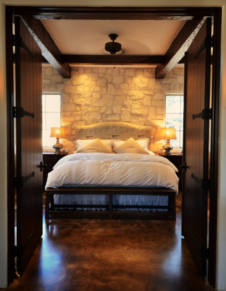 Elegant Stone Wall Bedroom