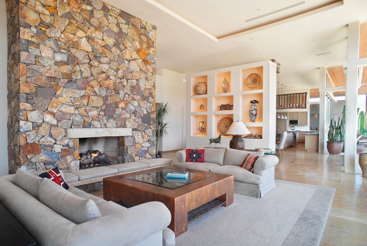 Textured Stone Wall For Fireplace