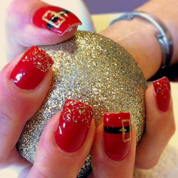 New Year Red Nail Design
