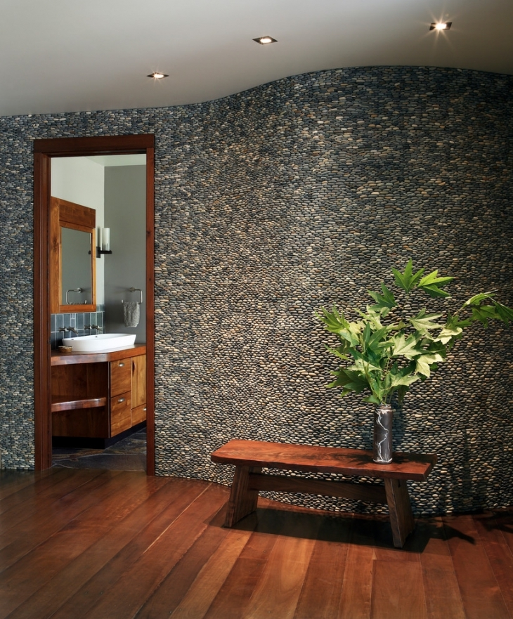 Antique Pebble Wall Design Idea