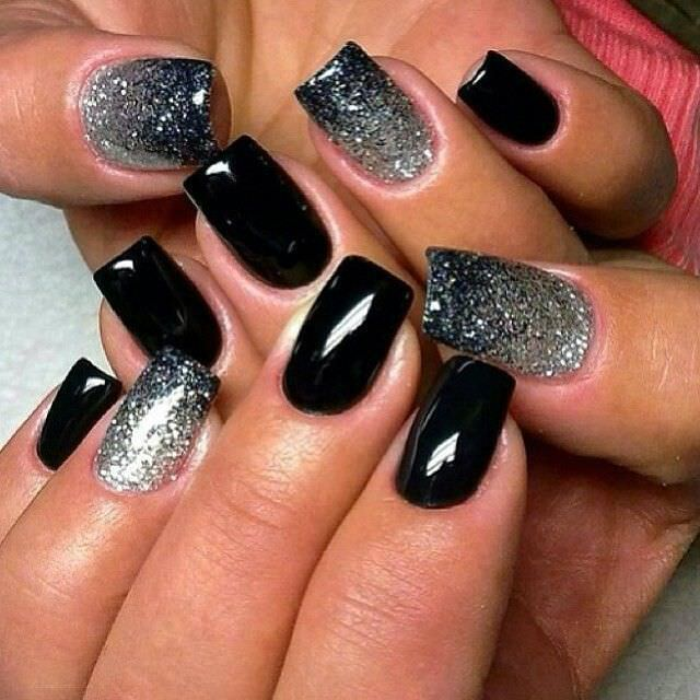 New Year Black And Gold Nail Design