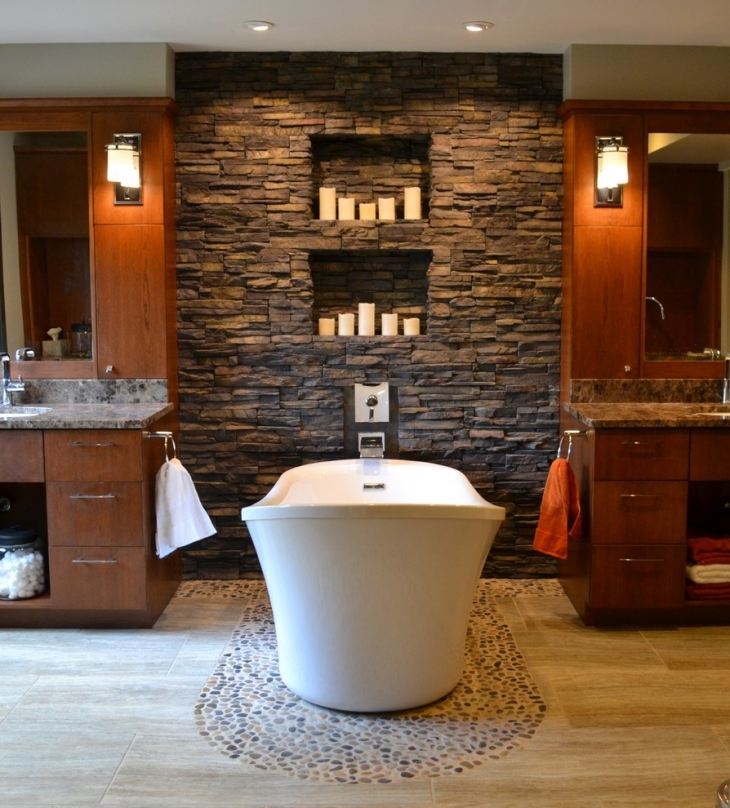 Stacked Stone Bathroom Wall