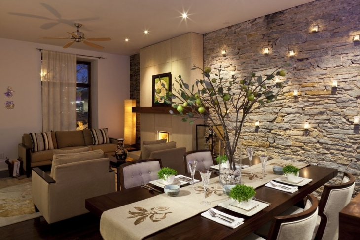 Dining Room With Natural Stone Wall
