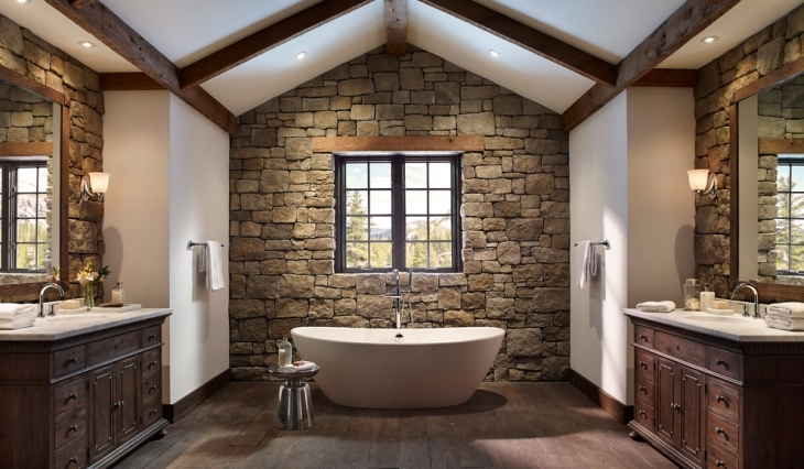 Rustic Stone Wall Master Bathroom