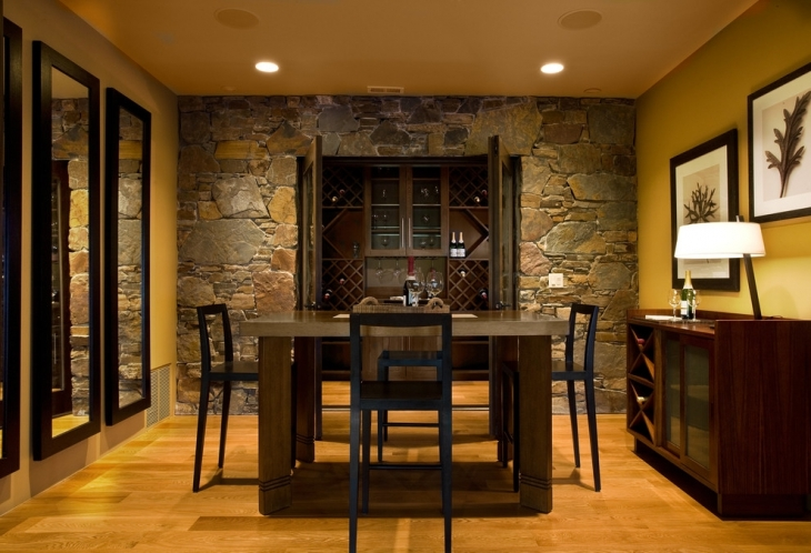 Rock Wall In Dining Room