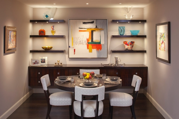 dining room with wall shelves