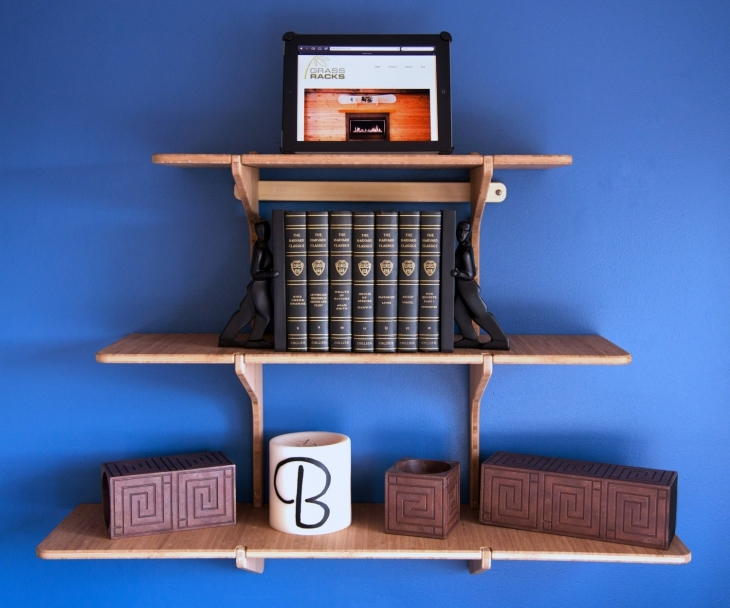 Triple Bamboo Wall Shelf.