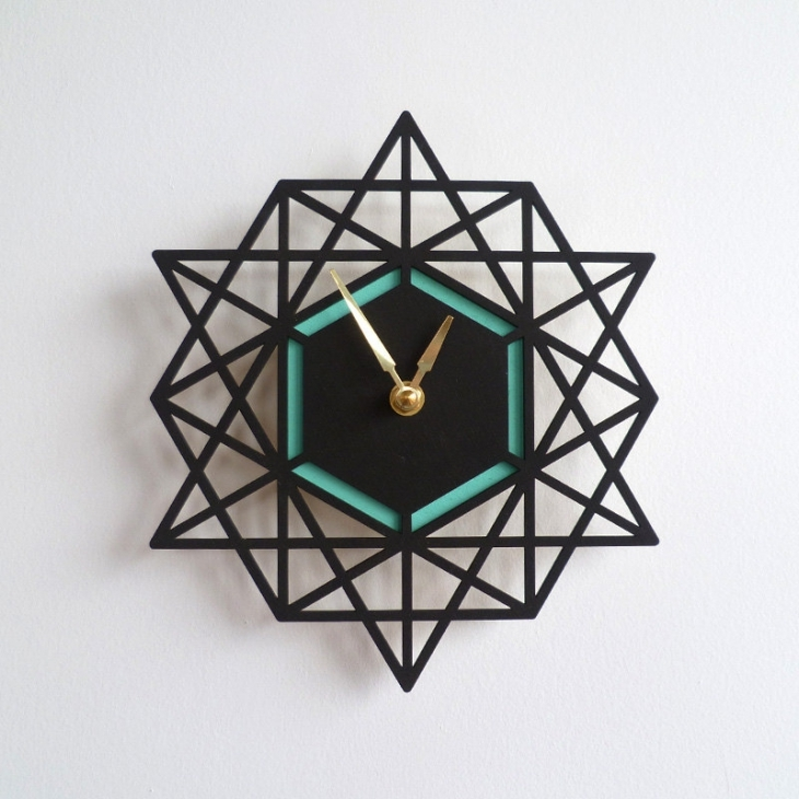 Two Toned Geometric Wall Clock.