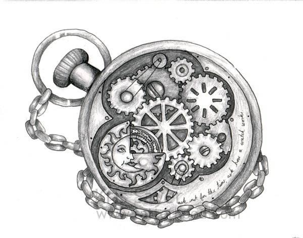 Clock Watch Tattoo Design