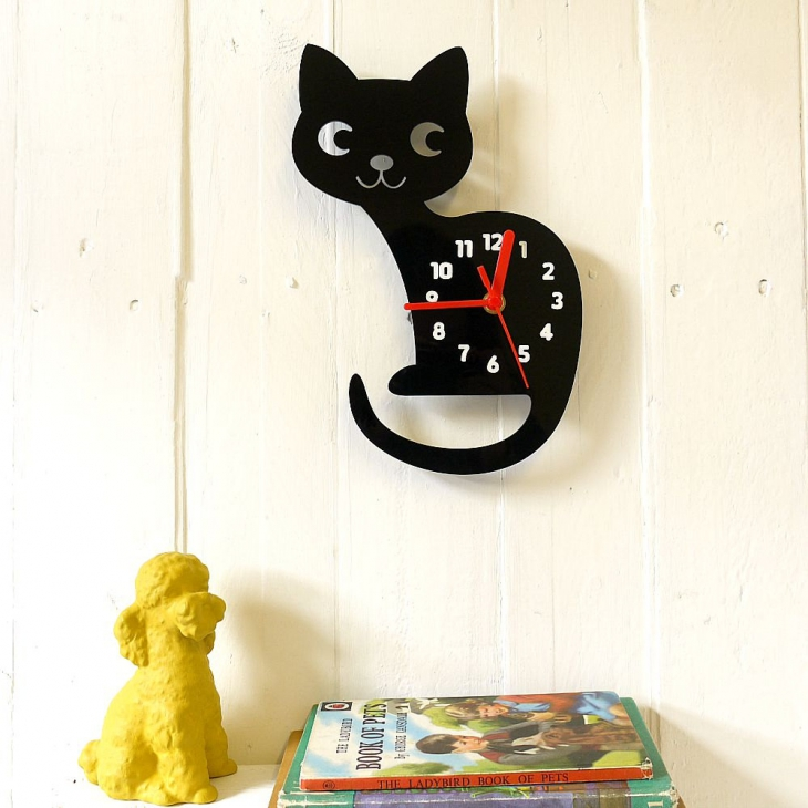 Black Cat Shaped Clock Design.