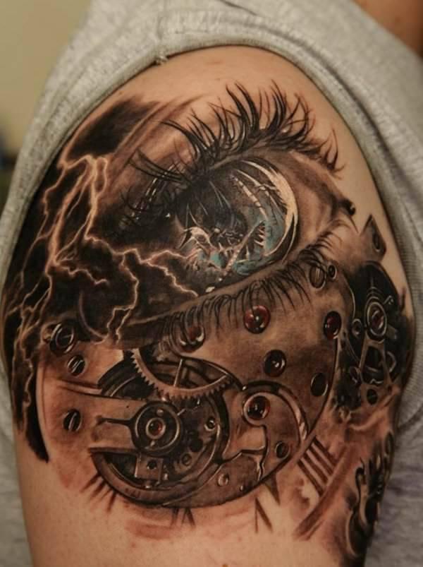 Clock Mechanics Watch Tattoo Design