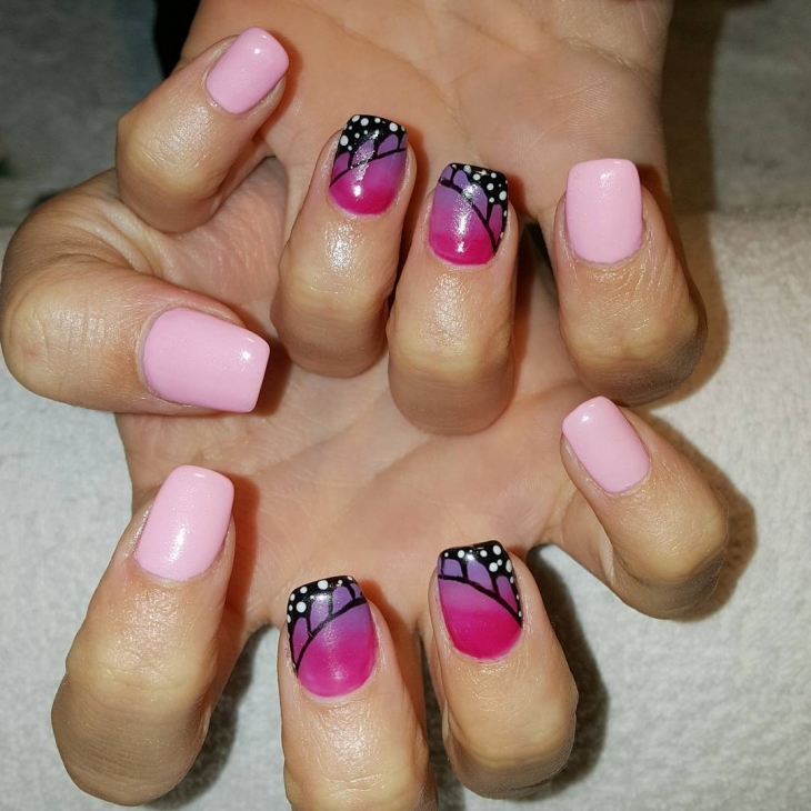 Pink and Black Nail Art Design