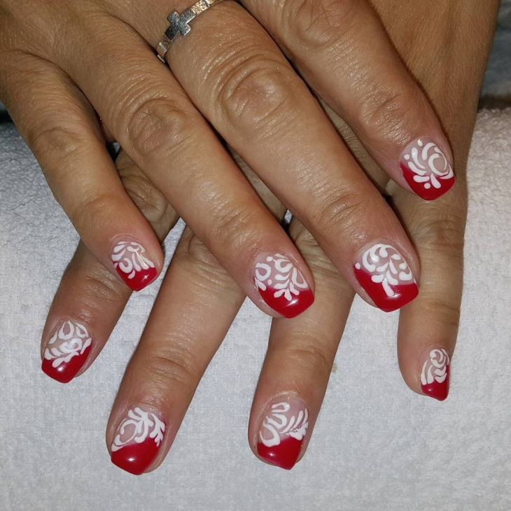 Natural Red and White Nail Art