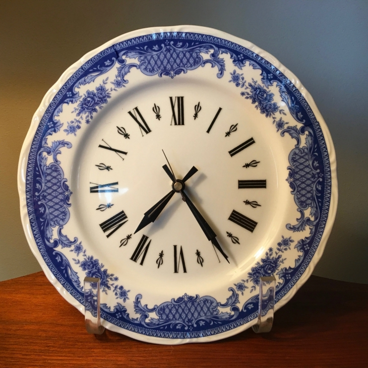 Vintage Blue and White Plate Wall Clock