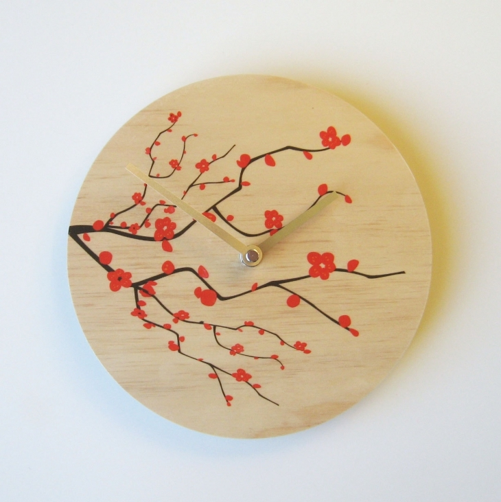 Cherry Blossom Designed Wall Clock